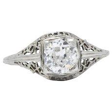 1.06 Carat European Art Deco 1930's 18K White Gold Diamond Engagement Ring GIA