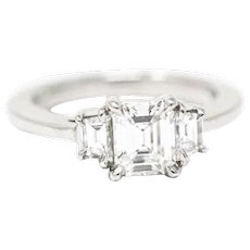 1.26 Carat Asscher Cut Diamond Platinum Engagement Ring GIA