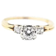 1940's Platinum 14K Yellow Gold Diamond Solitaire Engagement Ring