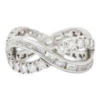 1.77 Carat Dazzling 1950's Platinum and Diamond Eternity Loop Band Ring