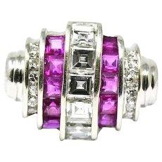 Excellent Art Deco platinum diamond Square Step Cut ruby ring