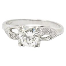 .97 Carat Graceful 1940's Platinum Transitional Cut Diamond Engagement Ring
