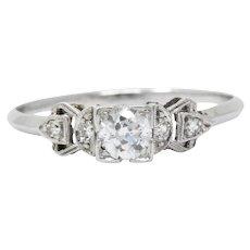 Vintage .48 Carat Pretty Platinum 1940's Diamond Engagement Ring