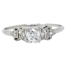 Vintage .48 Carat Pretty Platinum 1940's Diamond Engagement Ring
