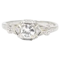 Stunning Art Deco .50 CTW Diamond Platinum Alternative Engagement Ring