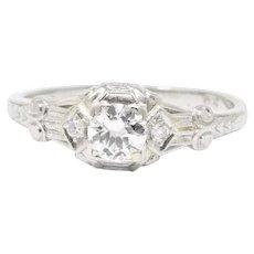 Stunning .50 Carat Art Deco Platinum 1930's Diamond Engagement Ring