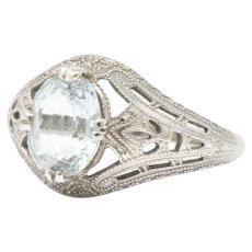 Art Deco 14K White Gold & Aquamarine Ring Circa 1920