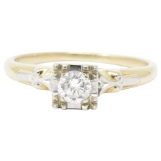 Dazzling 1950's 14K White Yellow Gold Diamond Engagement Ring