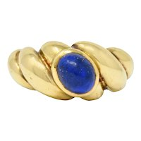 Van Cleef & Arpels 18K Yellow Gold Twisted Lapis Band Ring