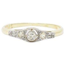 Edwardian Diamond Platinum 18K Yellow Gold English Band Ring