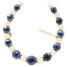 Victorian Montana Sapphire and Natural Pearl 14K Yellow Gold Horseshoe Pin Brooch
