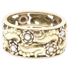 Floral Victorian 14K Tri-Color Gold Band Ring