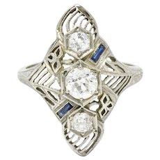 Art Deco 1930's diamond Sapphire 18K white gold shield ring