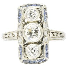 Art Deco French Sapphires European & Rose Cut Diamond 18K White Gold Alternative Engagement Ring