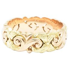 JABEL 14K Yellow Rose Gold Eternity Wedding Band Stackable Ring