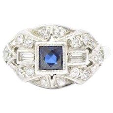 .65 Carat French Cut Sapphire Diamond Art Deco Platinum Ring