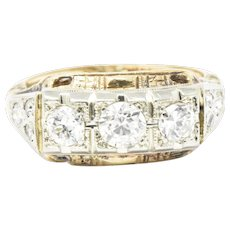 Edwardian European Cut Diamond Rose & Yellow Gold Diamond Three Stone Ring