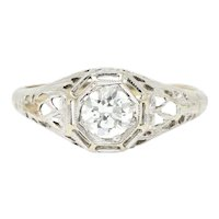 Vintage .61 CTW Diamond 18K White Gold Filigree Engagement Alternative Ring