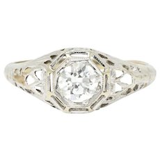 .61 Carat Art Deco 18K White Gold Diamond Filigree Engagement Ring