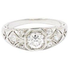.70 Carat Lovely Art Deco Old European Diamond Platinum Engagement Ring
