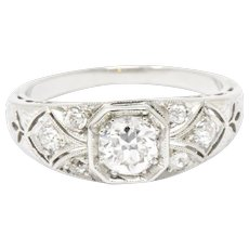 .70 Carat Lovely Art Deco Old European Diamond Platinum Engagement Ring