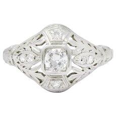 .30 Carat Old European Cut Diamond Edwardian Platinum Ring Garland