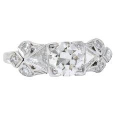 1.15 Carat Art Deco Platinum Old European & Triangle Diamond Engagement Ring