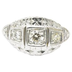 Lovely Art Deco 14K White Gold Old European Diamond Ring