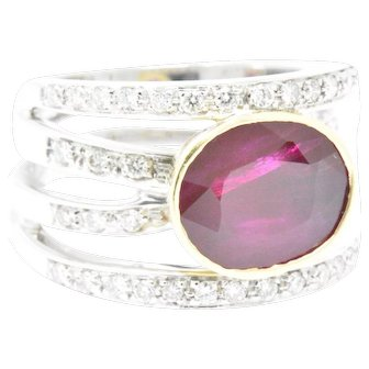 Levian Couture 2.15 Carat Ruby Diamond 18K White Yellow Gold Unique Cocktail Ring