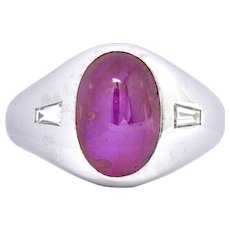 7.5 CTS Star Burma No Heat Ruby Platinum Diamond Unisex Men's Burmese Ring Circa 1940
