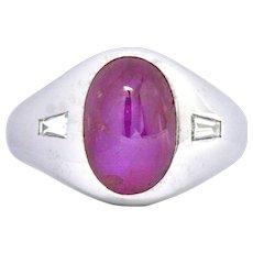 Star Burma Unheated Ruby Platinum Diamond Unisex Men's Burmese Ring Circa 1940