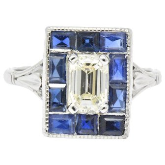 Art Deco Platinum Diamond Sapphire Square Alternative Engagement Ring