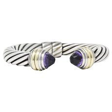 David Yurman Amethyst, 14K Gold & Sterling Silver Bangle Hinge Bracelet