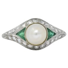 Belle Époque Natural Pearl, Emerald, Diamond & Platinum Ring