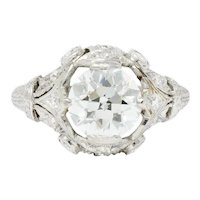Art Deco 2.71 CTW Diamond Platinum Foliate Engagement Ring GIA