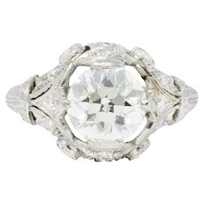 Exquisite 2.06 Carat Art Deco Platinum Diamond Engagement Ring GIA