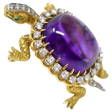 McTeigue & Co. Amethyst and Diamond Rotating Turtle Brooch 18K Yellow Gold Platinum Garnet
