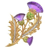 McTeigue & Co Platinum, 14K Yellow-Gold, Amethyst, Demantoid Garnet, Diamond Thistle Flower Brooch