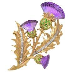 McTeigue & Co Platinum, 14K Yellow-Gold, Amethyst, Demantoid Garnet, Diamond Thistle Flower Brooch