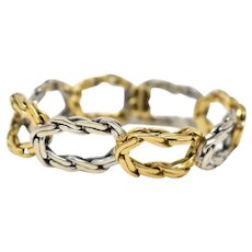 Vintage 18K Yellow Gold and White Gold Link Chain Bracelet, Cartier Unisex Circa 1970