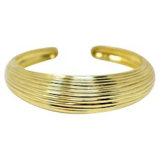 Tiffany and Co. 18K Ribbed Dome Double Hinged Cuff Bracelet