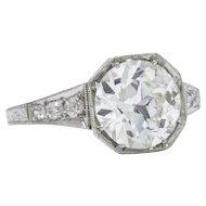 Impressive Art Deco 3.23 CTW Old European Cut Diamond Platinum Engagement Ring GIA