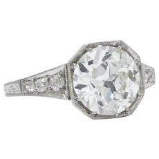 Impressive Art Deco 3.23 CTW Old European Cut Diamond Platinum Alternative Ring GIA