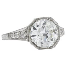 Impressive Art Deco 3.23 CTW Old European Cut Diamond Platinum Alternative Ring GIA