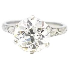 Crisp 2.80 carat old European cut Diamond Solitaire Engagement Ring Deco 18K Gold GIA