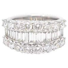 Delightful Platinum 4 Carat Baguette Brilliant Diamond Cocktail Ring