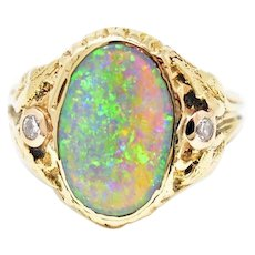 14K Arts and Crafts Walton & Co. Opal Diamond Ring