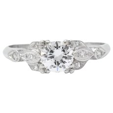 Pretty 1940's Platinum Transitional Cut Diamond Engagement Ring