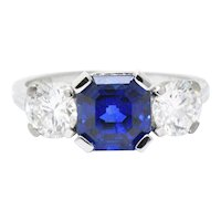 Tiffany & Co. 3.53 CTW Unheated Royal Blue Ceylon Sapphire Diamond Alternative Ring AGL