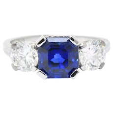 Tiffany & Co. 3.53 CTW No Heat Ceylon Sapphire Diamond Platinum Three Stone Ring AGL